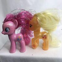 2010 My Little Pony Pinkie Pie Glitter Applejack Equestria MLP Set of 2 Hasbro