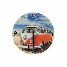 Large 30cm VW Camper Van Beach Design Glass Wall Clock