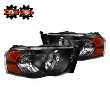 02-05 Dodge Ram 1500 2500 3500 Black Housing Headlights w/Amber Reflector Sport