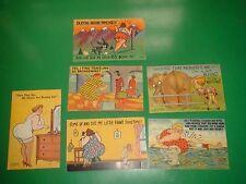 JC242 Vintage LOT of 6 Linen Big Butt Comic Postcards