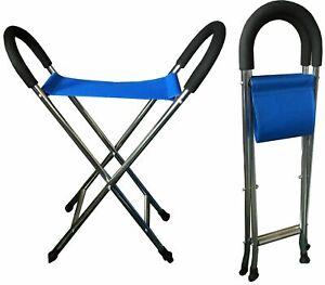 Walking Stick Chair Seat Stool Lightweight Folding Hiking Camping Fishing - BLUE