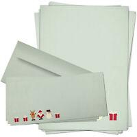 50 Weihnachtspapier mit Umschlag Motiv Vintage, Briefpapier Weihnachten Set