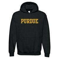 Purdue University Boilermakers Basic Block Licensed Hooded Sweatshirt - Black
