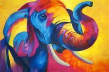 Elephant Holi Festival Pop Art Oil Painting on a Rolled Linen Canvas 90cm x 60cm