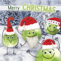 Charity Christmas Cards, Cute, Fun, Glossy, Cartoon '' Sprouts In Hats""