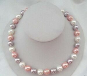 """Genuine 10mm Multicolor South Sea Akoya Shell Pearl Necklace 18"""""""