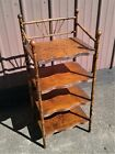 Antique Victorian Bamboo Stand Bookcase What Not Shelf 1920s Stick and Ball