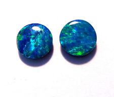 Pair Beautiful Australian Opal Doublets 6mm rounds Gem Grade (3080)
