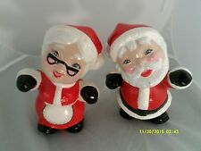 "Mr. & Mrs SANTA CLAUS Ceramic CHRISTMAS Figurines 7""X5""-RED/WHITE/BLACK Used"