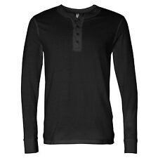 Mens Casual Long Sleeve T-shirt Tee Shirt Top Henley Grandad Collarless Button
