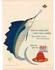1954 JELL-O Sailfish art VTG PRINT AD