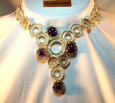 Kunstvolles Amethyst Collier 925 Silber Modernist Kette um 1970  / AW 416