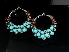 Boucles d'Oreilles Anneau Créole Argenté Perle Turquoise Bleu Marron Original M2