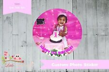 Personalised Custom Photo circle round labels stickers thank you drinks food