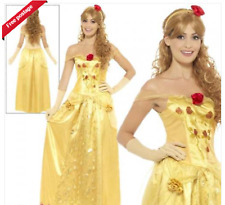 Ladies Golden Princess Adult Fairytale Beauty Belle Book Day Fancy Dress Costume