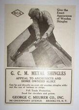 1925 G. C. M. Metal Shingles Advertisement George C. Meurer Co. Brooklyn, NY