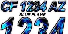 BLUE FLAME Custom Boat Registration Numbers Decals Vinyl Lettering Stickers USCG