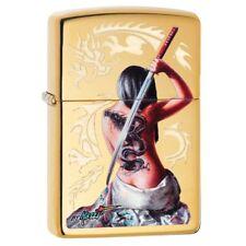 Zippo 29668, Mazzi-Dragon Lady With Sword, High Polish Brass Finish Lighter