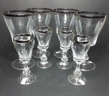 Set of 4 Crystal Wine Glass 8oz each and 4 Shot Glasses 2oz each Stemware Silve