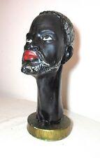 vintage antique hand painted blackamoor black Americana chalk ware statue bust