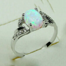 925 Silver 2.4Ct White Fire Opal Woman Jewelry Wedding Engagement Ring Size 6-10