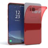 Ultra Slim Cover für Galaxy S8 Case Silikon Hülle Transparent Rot
