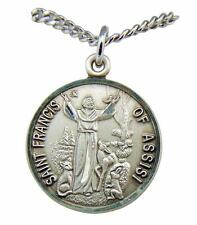 "Saint Francis of Assisi Sterling Silver 7/8"" Medal w/ 18"" Chain Made in USA"