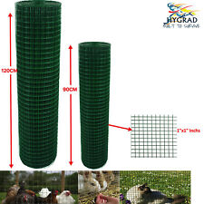 PVC Coated Mesh Wire Green Fencing 90/120cm Garden Galvanised Fence Net 30/45 M