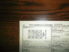 1972 American Motors Amc Eight Series Models 304 Ci V8 Tune Up Chart