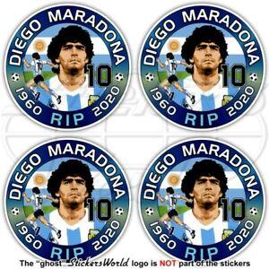 DIEGO MARADONA RIP 50mm Vinyl Stickers Decals x4 Aufkleber Adesivo Autocollant