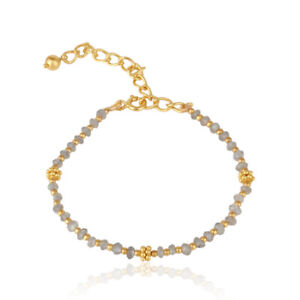 Yellow Gold Plated 925 Silver labradorite Beaded Gemstone Bracelet Jewelry
