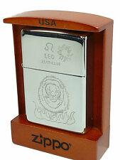 Zippo Sternzeichen Leo Löwe chrom poliert in Holzbox , Special Edition 2002187