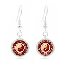 yin and yang Tibet Silver Dome Photo Art 16Mm Glass Cabochon Long Earrings ~160