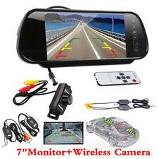 "IR LED Wireless Reversing Camera+ 7"" LCD TFT Monitor Mirror Car Rear View Kits"