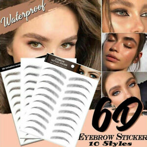 6D Hair-like Stick-On Authentic Eyebrows Waterproof Eyebrow Tattoo Sticker UK