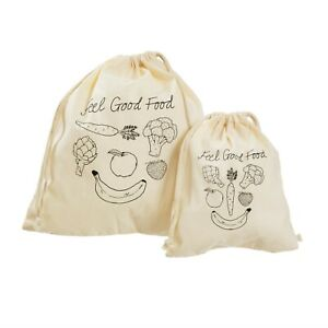 Set of 2 Reusable Cotton Fruit & Vegetable Bags by Sass & Belle, Eco Friendly