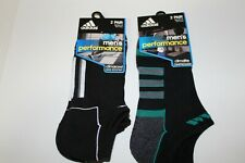 Adidas Men's Performance Climalite No-Show Socks 6-12 White/Black/Green 4 pairs