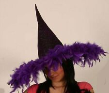 Sombrero De Malla Metálica Bruja de Halloween vestido elegante adorno de plumas púrpura P5960