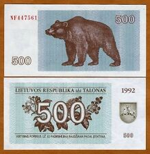 Lithuania, 500 Talonas 1992, Pick 44, EX-USSR, UNC > Bear