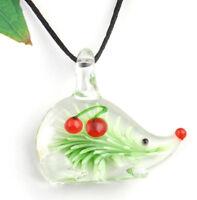 1pc cute hedgehog cherry Lampwork Glass bead pendant Necklace p866_1