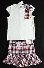 NWT GYMBOREE girls size 7 HOMECOMING KITTY ivory tee pink navy plaid skort