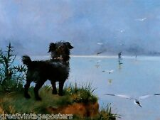 DOG WAITING MASTER RETURN ANIMAL PAINTING BY LOUISE ABBEMA ON CANVAS REPRO SMALL