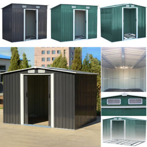 4*6, 4*8, 6*8, 8*8, 10*8 Metal Toolshed Garden Shed Outdoor Storage W/ Free Base