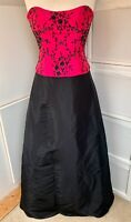 Dynasty London Black & Bright Pink Floral Beaded Prom Ball Gown Dress - Size 12