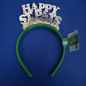 St Patricks Day Headband Green Silver Glitter