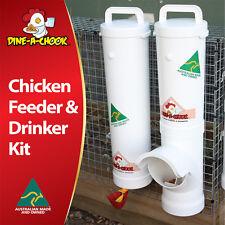 DINE-A-CHOOK Chicken Feeder & Drinker Set / Chook Waterer / Poultry Coop