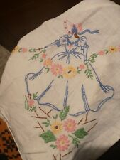 Vintage Hand Embroidered Linen Tablecloth-EXCEPTIONAL CRINOLINE LADY NEEDLE WORK