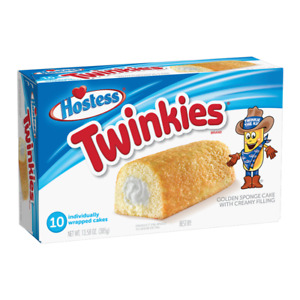 Hostess Twinkies Fluffy Golden Bake Creamy Filling Snack Pack of 10 Cakes