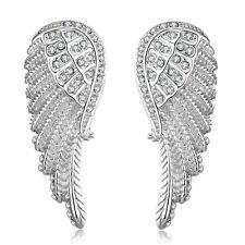 "Platinum Plated  Earrings Drop Dangle AAA Zirconia Push Back Wing .6"" L169"