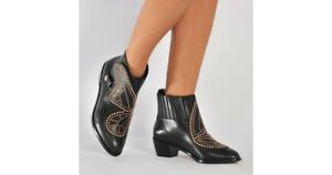 Sophia Webster Black Leather Rose Gold Studded Butterfly Booties 37 650$
